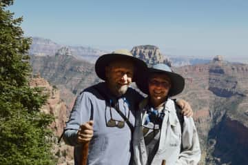 Hiking the north rim of the Grand Canyon.