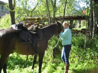 Corine in love with a beautiful horse