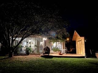 Backyard at night.