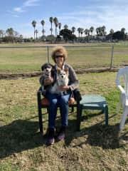 Shula and I petsitting Precious Presley in Ocean Beach.