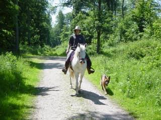 Sandy on a walk with me on horseback