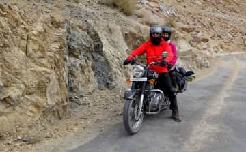 Ladakh, India, Bibi and Hans on a motor tour.