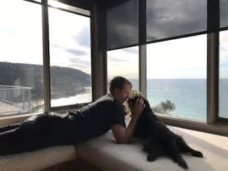Alex with Milly the dog