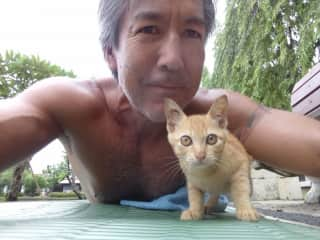 Jonathan and a very cute work out partner. (Chiang Mai, Thailand)
