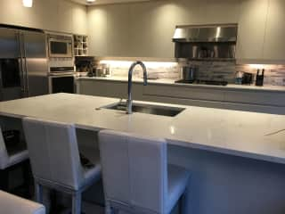 kitchen island area