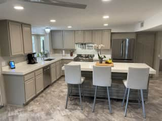 """Chef's Kitchen with 36"""" professional gas stove and reverse osmosis water for. drinking"""