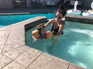 Learning how to swim, soaking in the California sun.
