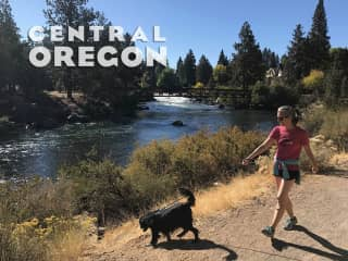 Sally and Cooper on the Deschutes River Trail