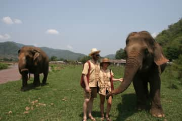 Nathaniel and I volunteering at Elephant Sanctuary in Chiang Mai, Thailand.