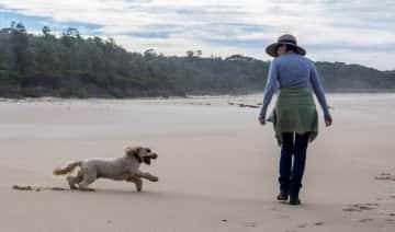 With my friend's dog in Kioloa, Australia