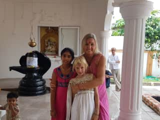 My dauter me and a friend in a beautiful old indian tempel on Mauritius