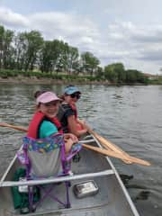 Lulu and Poppy canoeing.