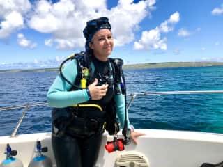 Connie scuba diving in Bonaire.
