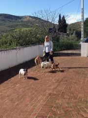 Debs on dog walking duties - House sitting in Andalucia, Spain