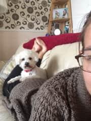 Courtney cuddling with Snowball in Birmingham, UK