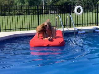 There is simply nothing better than floating around a pool with a furry friend!