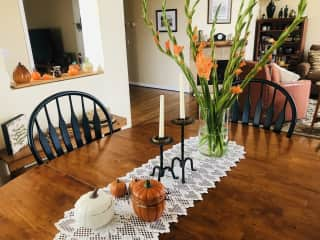 Dining & living room, with fall decor