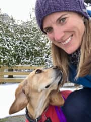 Walking the pup, even in the snow!