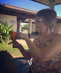 Patty with a friend's bird.