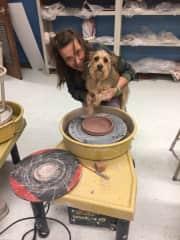 Roscoe at my pottery class.