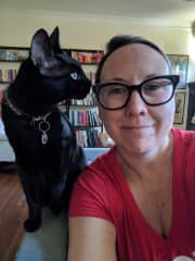 With my friend Shannon's cat Egon