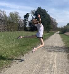 On our local trail. You can tell she's a ballerina even when she's being silly.