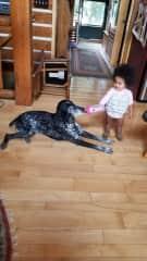 Kate feeding Keizer.