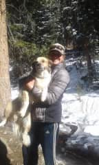 Me with my dog Tango. He is easy going and would be a great friend to your dog if they like canine companions.