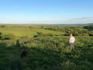 Me enjoying the view, Morph the German Shepherd, Buddy & Coco playing hide and seek!