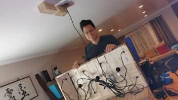 Ben building a chandelier