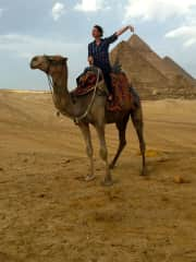Sarah in Egypt on a Camel