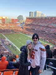 Emily and Peter at a browns Game