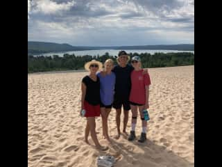 With my children before our hike down Sleeping Bear Dunes in Michigan