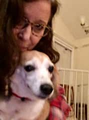 I often visit former foster dog Ms. Beasley and her mom.