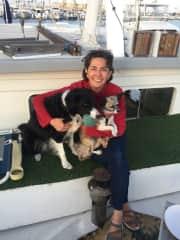 Jennifer w/Fionna and Cheech on a pet sit
