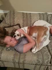 Kayla with Sailor Hoss the Bulldog.