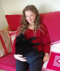 Darling daughter with Conker, the cat