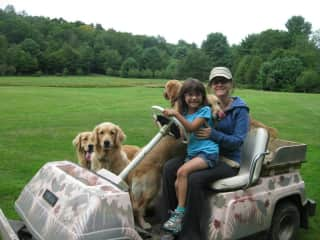 Me, my niece, and my mom's dogs