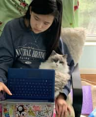 My daughter Hannah and our cat Rosie.