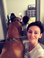 With my huge and powerful but the most loving puppy ever, Mr. Horse))) couldn't make him to look at the camera) He weights more then I do!