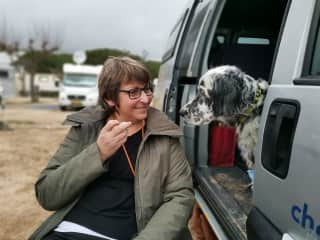 Me and my sisters dog in Spain on my trip in a camper.