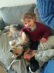 Norah with our dogs Daisy and Pippa
