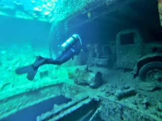 Diving a shipwreck in the Red Sea, Egypt.