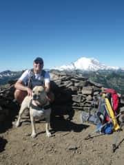 Paul, The doggess Athena and Mt. Rainier