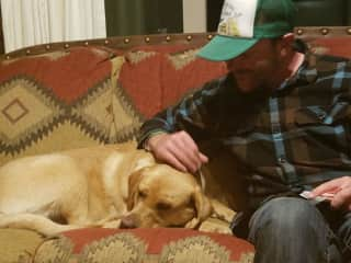 James with Blue, his brother's dog, who he stays with from time to time