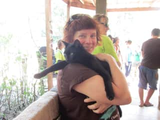 Donnae and a kitty from the Elephant Nature Park I volunteered for.