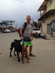 Todd with our dogs in Bocas Town, Panama