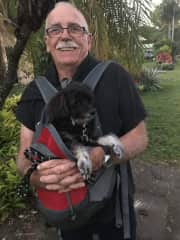 Ron with little Mia from Cairns. The way to travel if you're 16 yrs old