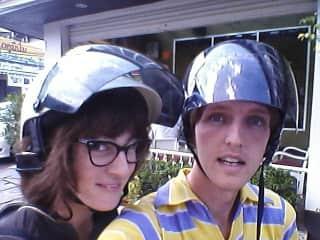 Michael and Ellie on motorbike, 2014