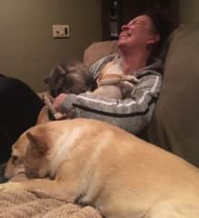 Arms filled with Cloe's kitty cuddles and Rocky's doggy kisses!  Pure bliss in Tempe, Arizona!